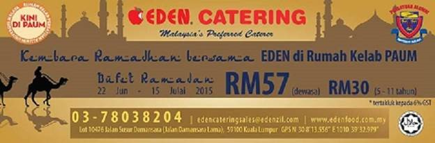 Ramadhan Buffet By EDEN at the new PAUM CLUBHOUSE
